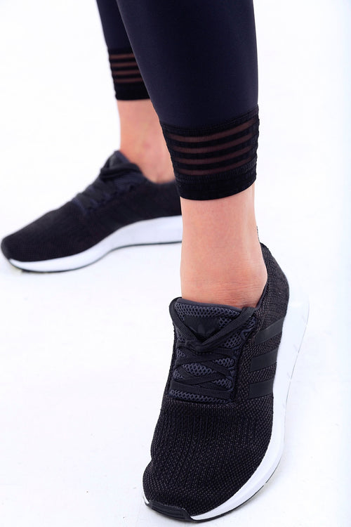 La Forme Seamless High Waisted Sweat Wicking Gym Leggings with Ankle Detail Black