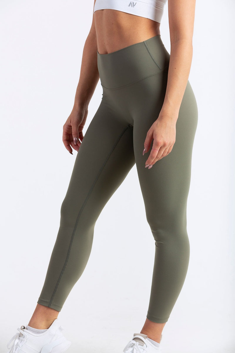 Aeon Vie Define Contour seamless front leggings in Olive with white Stellar sports bra