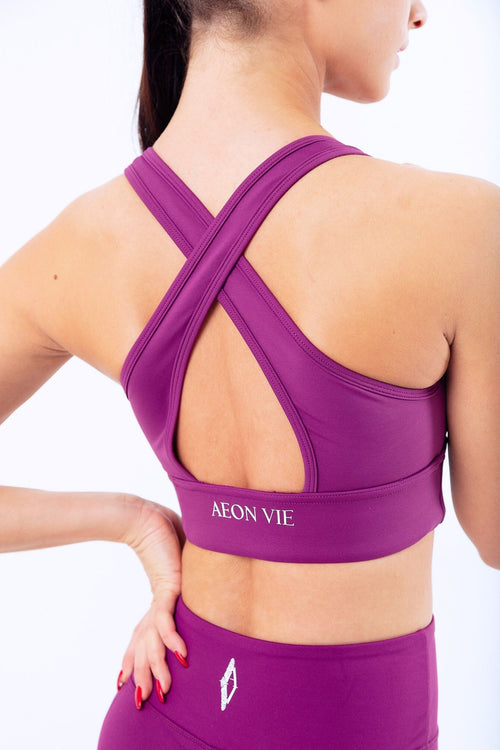 Dynamique Cross Back Sports Bra Plum