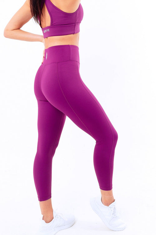 Dynamique High Waist Gym Leggings Plum