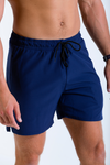 Mens Vitesse lightweight above knee shorts in Tungsten Blue with drawstring