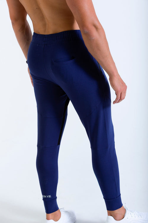Vitesse 7/8 mens jogger, jogging bottoms in blue image form the rear