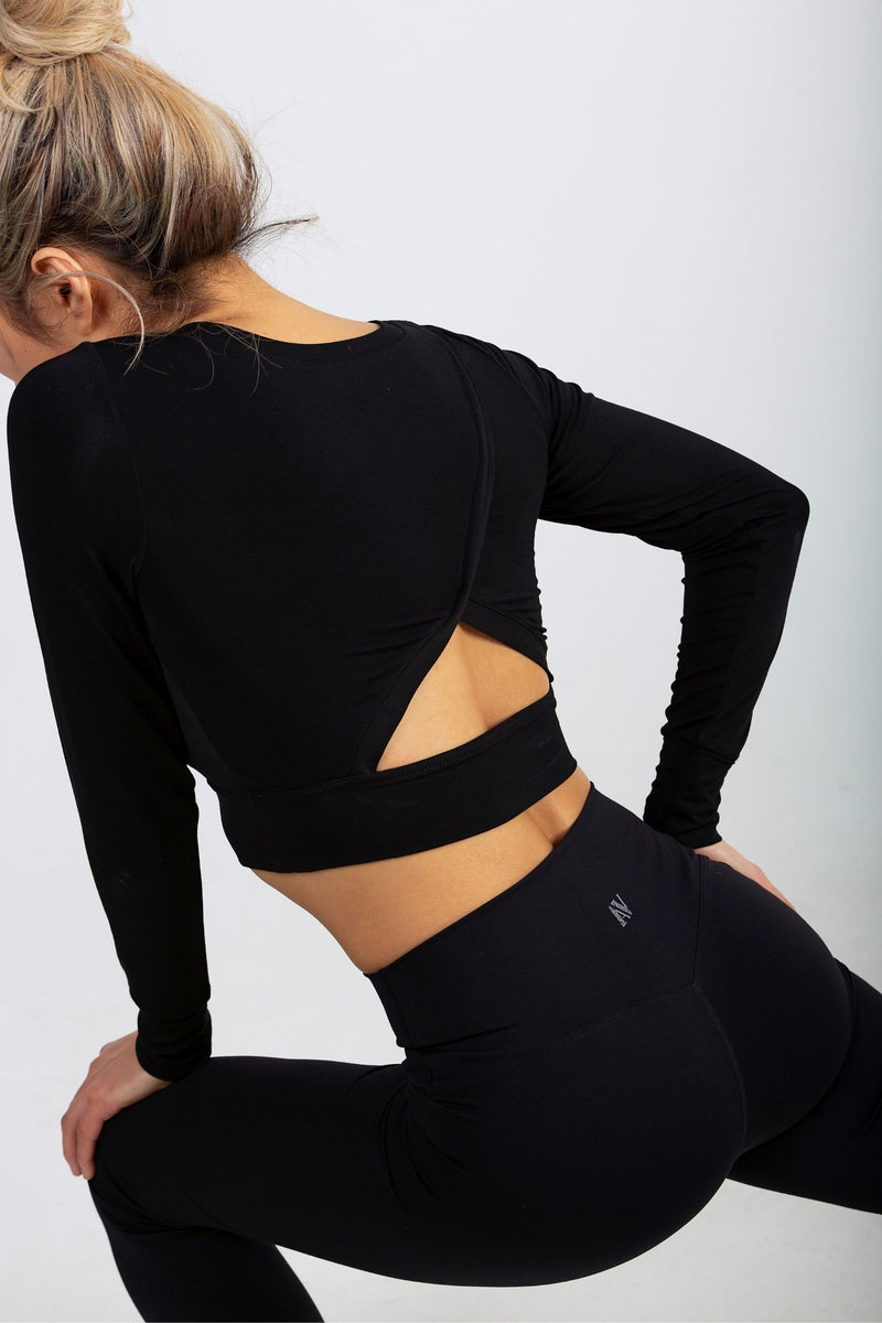 Aeon Vie Soft Touch City Crop in Black with Black Define Leggings