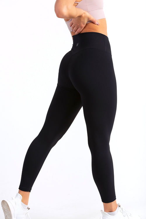Aeon Vie Define Contour seamless front leggings in Black with Serenity sports bra in dark powder