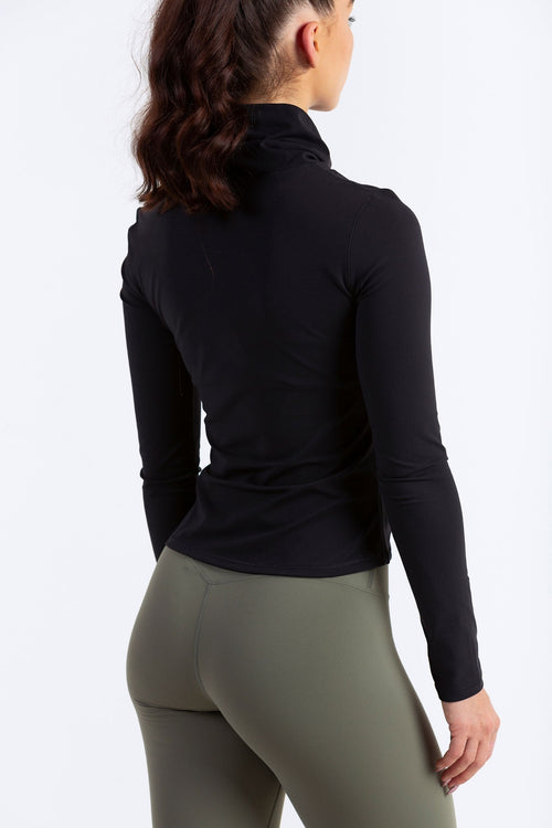 Aeon Vie OSMO High Neck Pullover in Black with Olive Define Leggings