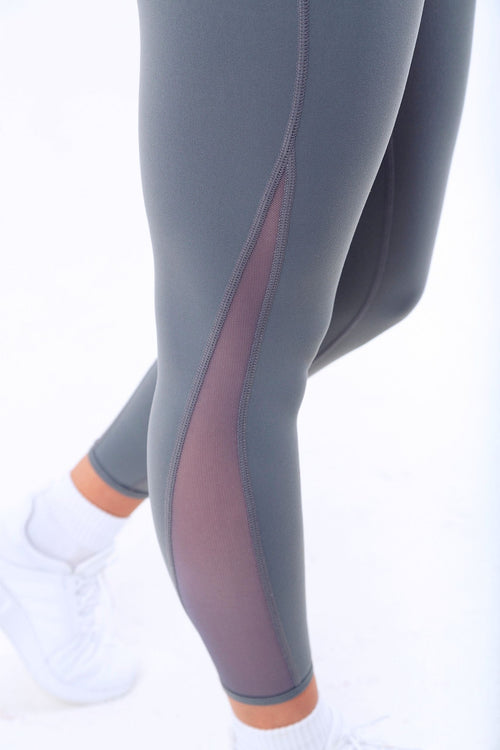 Accelerer high waisted gym leggings Grey with mesh side