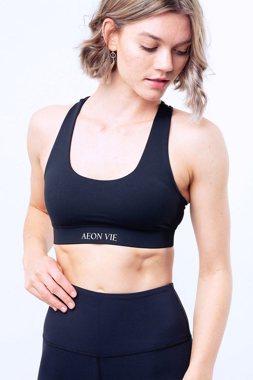 La Forme Twin Cross Strap Sports Bra Black
