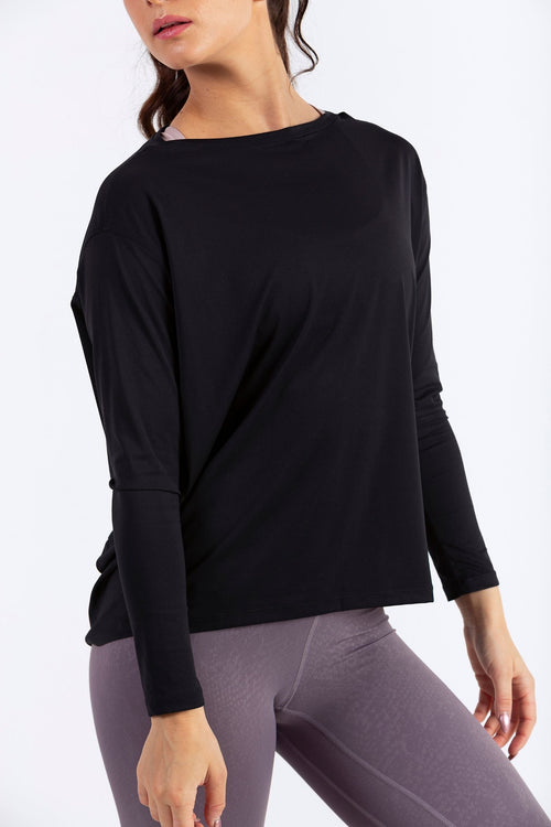 Aeon Vie Live-In Long Sleeve Tee in Black with Celeste snakeskin print leggings