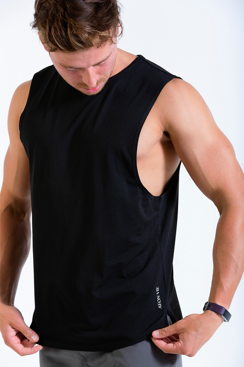 Mens HangFit sleeveless t-shirt black