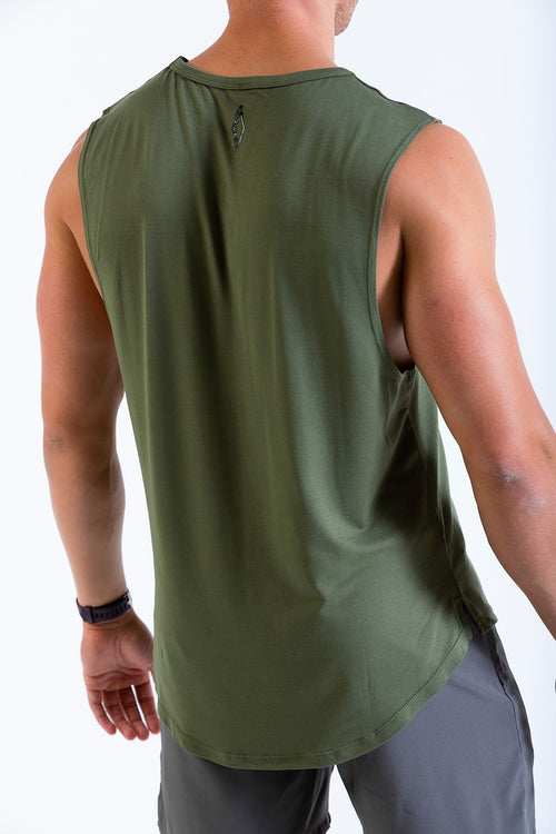 Mens HangFit sleeveless t-shirt Army Green rear view
