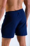 Mens Vitesse lightweight above knee shorts in Tungsten Blue with drawstring rear view