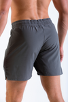 Mens Vitesse lightweight above knee shorts in Carbon Grey rear view