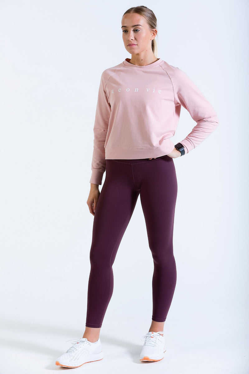 Womens Hip Hip Pullover Gym Crop Jumper Rose Pink and Iono high waist leggings