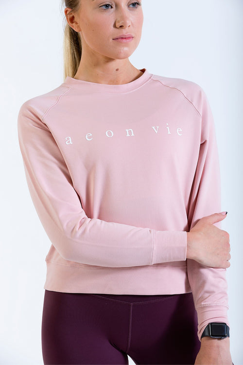 Womens Hip Hip Pullover Gym Crop Jumper Rose Pink