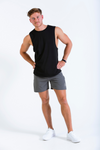 Model wearing mens black sleeveless t-shirt HangFit and Vitesse grey lightweight shorts