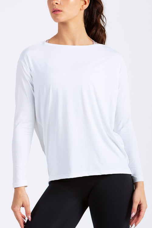 Aeon Vie Live-In Long Sleeve Tee in White with Black Define leggings