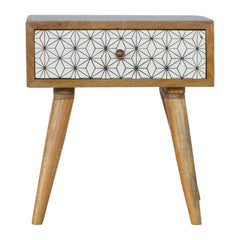 ebba bedside table with geometric on neutral pattern