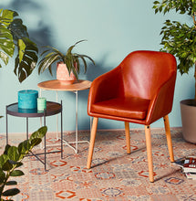 Load image into Gallery viewer, Madox Armchair comes in brown with a modern style and is available from roomshaped.co.uk