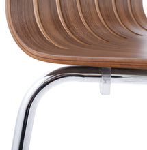 Load image into Gallery viewer, Stricto Chair comes in walnut and white with a modern style and is available from roomshaped.co.uk