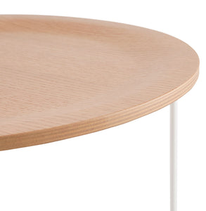 Oola Side Table comes in a natural finish and white with a modern style and is available from roomshaped.co.uk