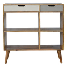Load image into Gallery viewer, Matas Bookcase comes in grey with a painted style and is available from roomshaped.co.uk