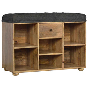 Maxence Storage Bench comes in black with a country style and is available from roomshaped.co.uk