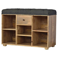 Load image into Gallery viewer, Maxence Storage Bench comes in black with a country style and is available from roomshaped.co.uk