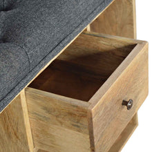 Load image into Gallery viewer, Maxence Storage Bench comes in grey and an oak finish with a country style and is available from roomshaped.co.uk