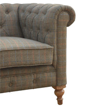 Load image into Gallery viewer, Sebastien Chesterfield Sofa comes in an oak finish with a country style and is available from roomshaped.co.uk