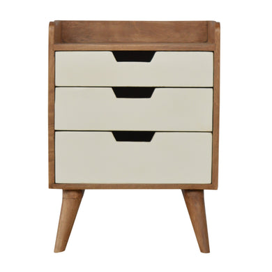 Finn Bedside Drawers comes in grey and white with a painted style and is available from roomshaped.co.uk