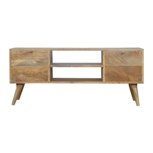 Johan Media Unit comes in grey with a painted style and is available from roomshaped.co.uk