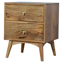 Load image into Gallery viewer, Arkady Bedside Table comes in an oak finish with a country style and is available from roomshaped.co.uk