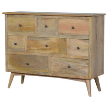 Load image into Gallery viewer, Elke Chest of Drawers comes in an oak finish with a country style and is available from roomshaped.co.uk