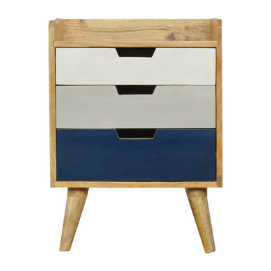 Jesse Bedside Drawers comes in an oak finish with a painted style and is available from roomshaped.co.uk