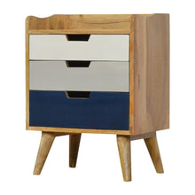 Load image into Gallery viewer, Jesse Bedside Drawers comes in blue and grey with a painted style and is available from roomshaped.co.uk