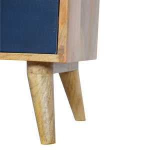 Jesse Bedside Drawers comes in blue and grey with a painted style and is available from roomshaped.co.uk