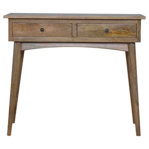 Luffield Console comes in an oak finish with a deco style and is available from roomshaped.co.uk