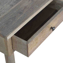 Load image into Gallery viewer, Luffield Console comes in an oak finish with a deco style and is available from roomshaped.co.uk