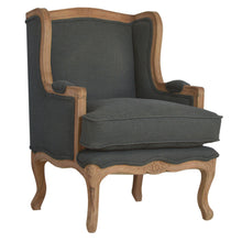 Load image into Gallery viewer, Rose Wing Chair comes in grey with a french style and is available from roomshaped.co.uk