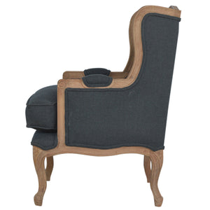 Rose Wing Chair comes in grey with a french style and is available from roomshaped.co.uk