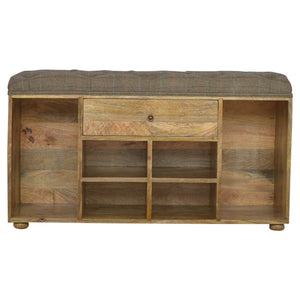Jordan Storage Bench comes in an oak finish with a country style and is available from roomshaped.co.uk