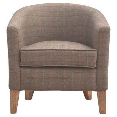Robert Tub Chair comes in brown with a country style and is available from roomshaped.co.uk