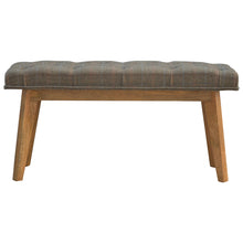 Load image into Gallery viewer, Lucy Buttoned Bench comes in brown and an oak finish with a country style and is available from roomshaped.co.uk