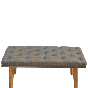 Lucy Buttoned Bench comes in brown and an oak finish with a country style and is available from roomshaped.co.uk