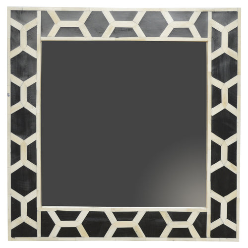 Agata Mirror comes in black with a geometric style and is available from roomshaped.co.uk