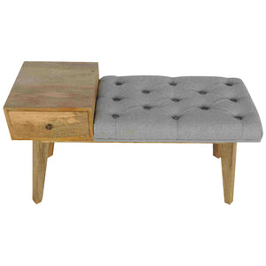 Agatha Tweed Bench comes in grey with a country style and is available from roomshaped.co.uk