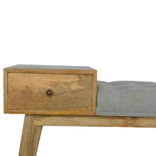 Load image into Gallery viewer, Agatha Tweed Bench comes in grey with a country style and is available from roomshaped.co.uk