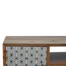 Load image into Gallery viewer, Ebba Media Unit comes in white with a geometric style and is available from roomshaped.co.uk