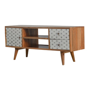 Ebba Media Unit comes in white with a geometric style and is available from roomshaped.co.uk