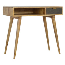 Load image into Gallery viewer, Tristan Desk comes in an oak finish with a deco style and is available from roomshaped.co.uk
